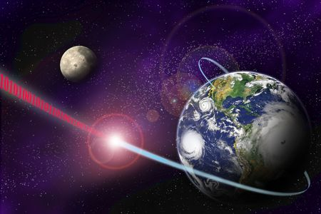 Technology digital communication in binary system on planet Earth and in universe Stock Photo - 3379680