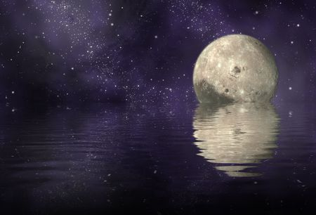 astroimage: moon in universe and reflection moon and universe on ripply water - plane