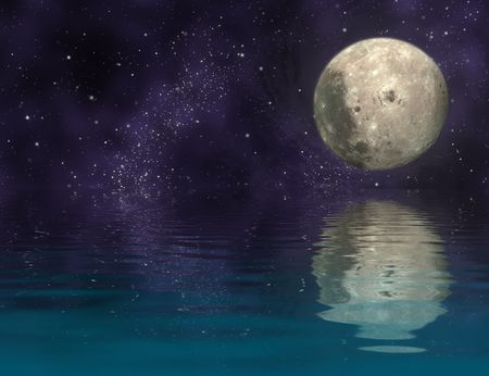 astral: moon in universe and reflection moon and universe on ripply water - plane