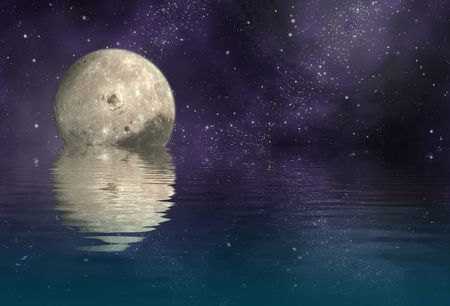 astrophotography: moon in universe and reflection moon and universe on ripply water - plane