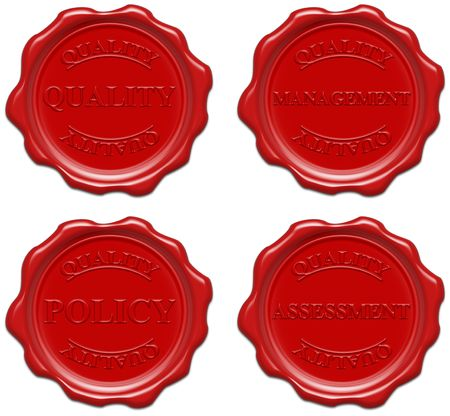 certificated: High resolution realistic red wax seal with text : quality, management, policy, assessment