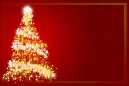 Abstract Christmas tree on red background - Christmas business card Stock Photo - 3720098