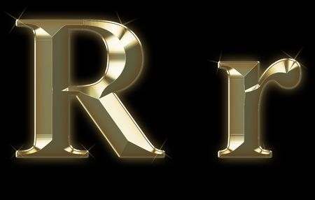 interact: Exclusive collection font from brushed gold - R,r Stock Photo