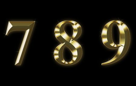 8 9: Exclusive collection font from brushed gold - 7, 8, 9