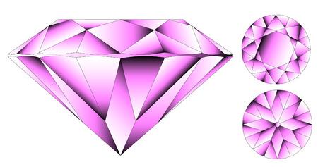 Vector round brilliant cut diamond perspective