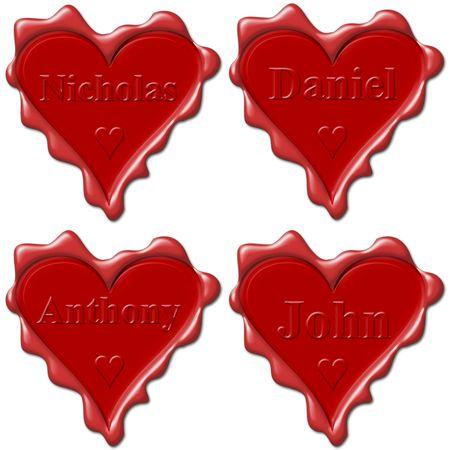 john: Valentine love hearts with names: Nicholas, Daniel, Anthony, John