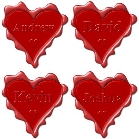 andrew: Valentine love hearts with names: Andrew, David, Kevin, Joshua