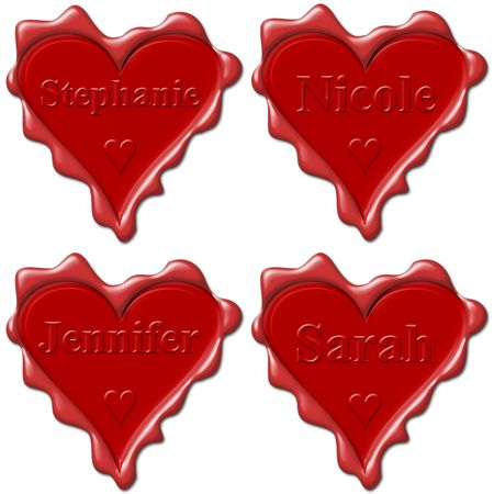 jennifer: Valentine love hearts with names: Stephanie, Nicole, Jennifer, Sarah