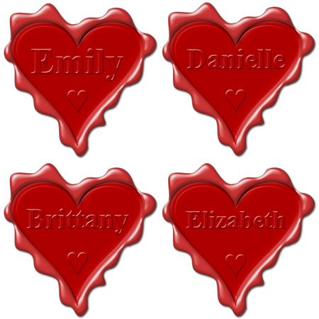 brittany: Valentine love hearts with names: Emily, Danielle, Brittany, Elizabeth Stock Photo