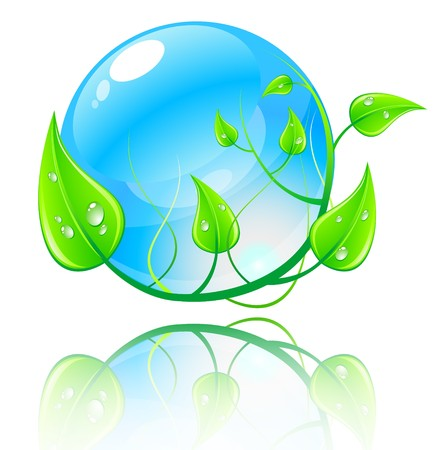Vector illustration green and blue environment concept. illustration