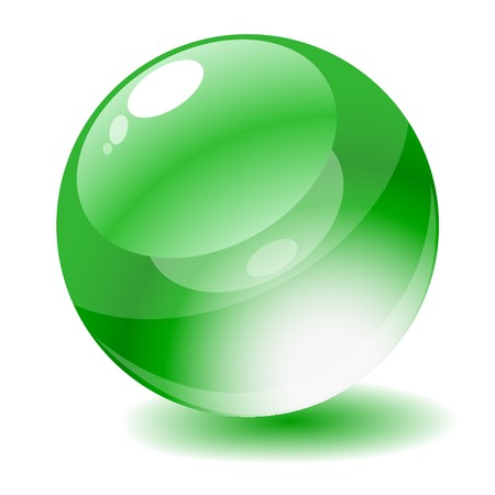 Vector illustration. Green glossy circle web button. Stock Illustration - 4414804