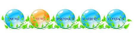 Vector illustration green, blue and orange web navigation concept. illustration