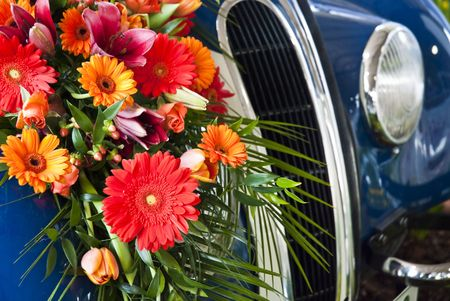 Flowers on the car radiator photo