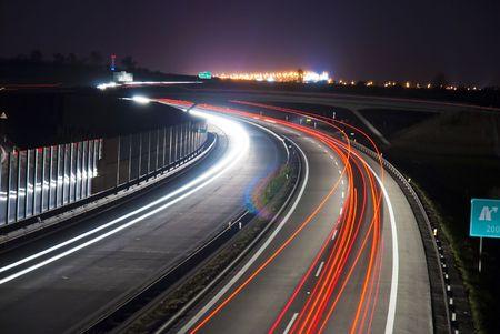 Night highway - long exposure - light lines photo