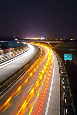 Night highway - long exposure - light lines Stock Photo - 5238113