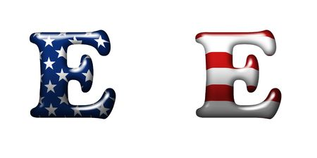 Exclusive collection letters with american stars and stripes isolated on white background - E photo