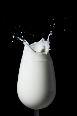 Abstract milk splash against black background