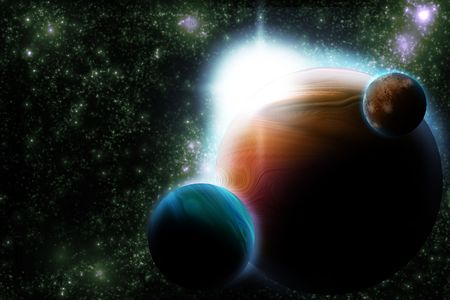 Abstract planet with sun flare in deep space - star nebula against black background Stock Photo