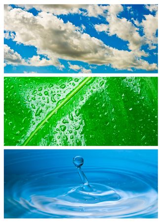 Environmental theme abstract background - gray clouds and blue sky, green leaf with rain drop, blue water drop splash in water. photo