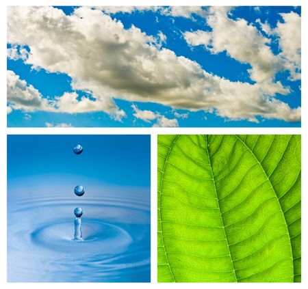 Environmental theme abstract background - gray clouds and blue sky, green leaf with rain drop, blue water drop splash in water. Stock Photo - 5800640