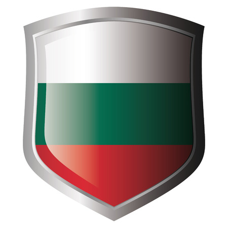 bulgaria flag on metal shiny shield. Collection of flags on shield against white background. Isolated object. Vector