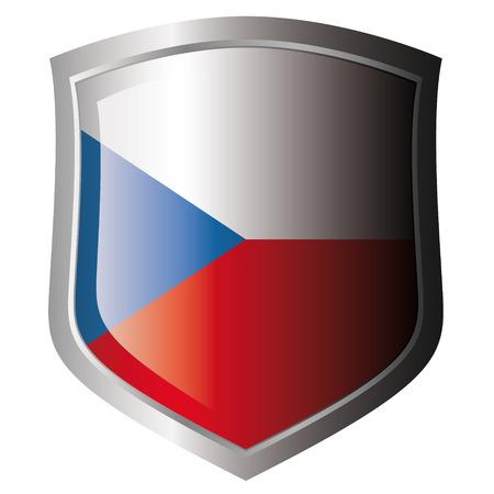 czech flag: ceca bandiera su metallo lucido scudo. Insieme di flag su scudo contro lo sfondo bianco. Oggetto isolato.  Vettoriali