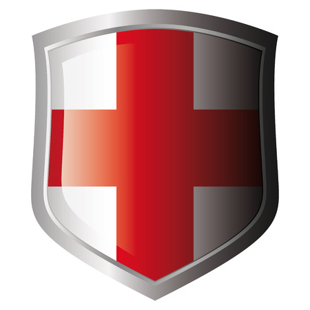 bandera inglaterra: Bandera de Inglaterra en metal escudo brillante. Colecci�n de banderas en escudo contra el fondo blanco. Objeto aislado.  Vectores