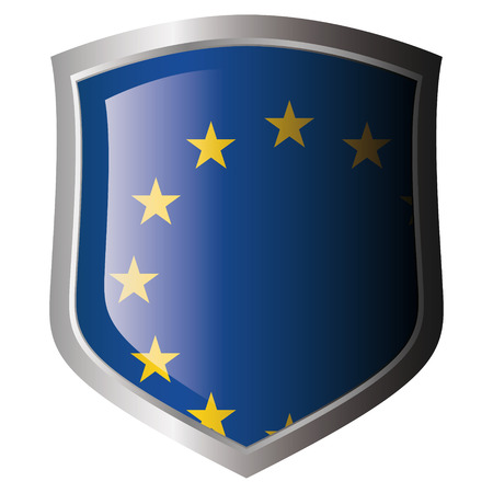 EU flag on metal shiny shield. Collection of flags on shield against white background. Isolated object. Vector