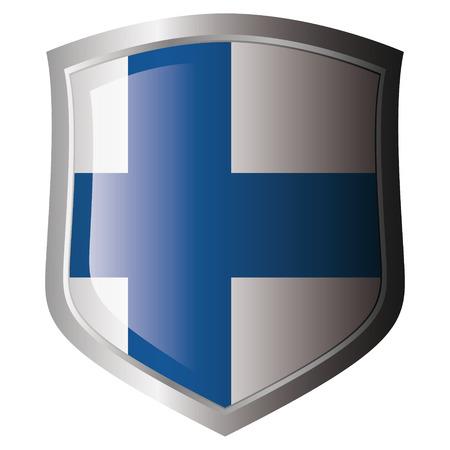 bandera de finlandia: Bandera de Finlandia en metal escudo brillante. Colecci�n de banderas en escudo contra el fondo blanco. Objeto aislado.