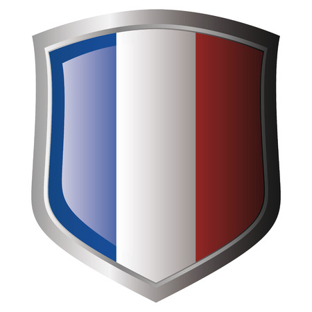 金属光沢のあるシールドのフランスの国旗。白い背景に対するシールドのフラグのコレクションです。孤立したオブジェクト。