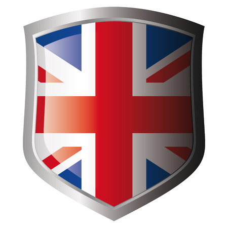 shiny metal: great britain flag on metal shiny shield. Collection of flags on shield against white background. Isolated object.