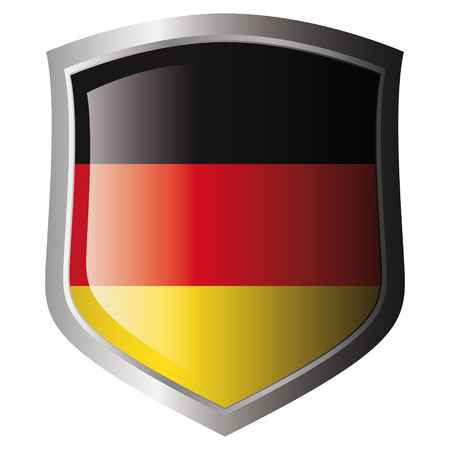 germany flag on metal shiny shield. Collection of flags on shield against white background. Isolated object. Stock Vector - 5871980