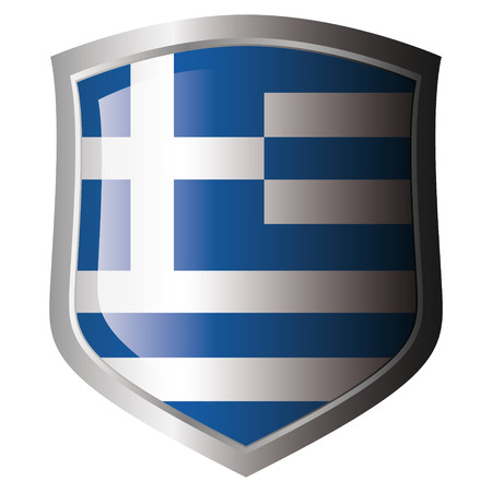 sports event: greece flag on metal shiny shield. Collection of flags on shield against white background. Isolated object.