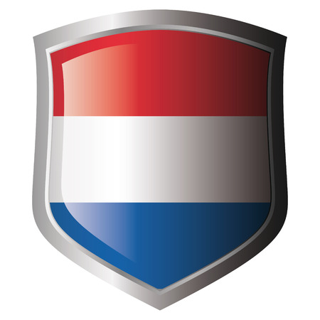 holanda bandera: Bandera de Holanda en metal escudo brillante. Colecci�n de banderas en escudo contra el fondo blanco. Objeto aislado.