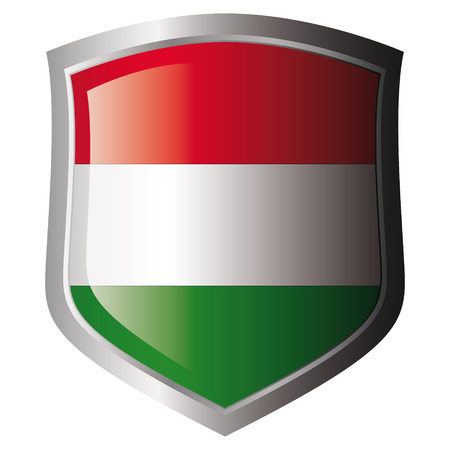 hungary flag on metal shiny shield. Collection of flags on shield against white background. Isolated object. Stock Vector - 5872001