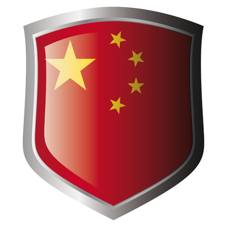 china flag on metal shiny shield. Collection of flags on shield against white background. Isolated object. Illustration