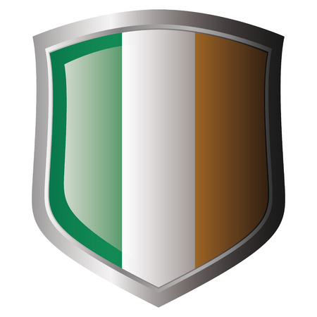 ireland flag on metal shiny shield. Collection of flags on shield against white background. Isolated object. Stock Vector - 5871986