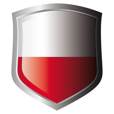 poland flag on metal shiny shield. Collection of flags on shield against white background. Isolated object. Stock Vector - 5872003
