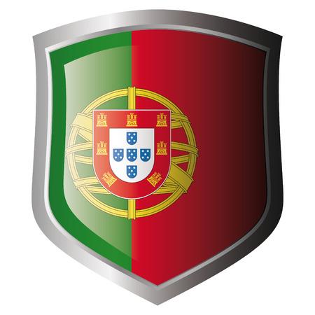 drapeau portugal: Drapeau du Portugal sur m�tal bouclier brillant. Collection de drapeaux sur le bouclier sur fond blanc. Objet isol�.