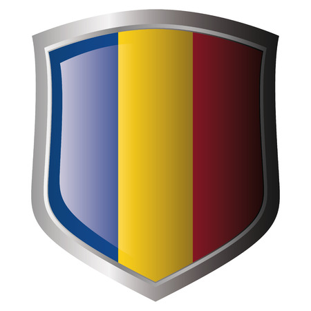 romania flag on metal shiny shield. Collection of flags on shield against white background. Isolated object. Stock Vector - 5871984