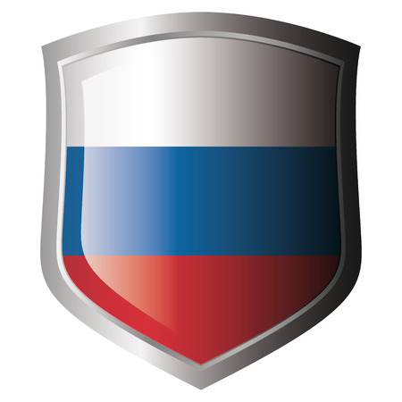 shiny metal: russia flag on metal shiny shield. Collection of flags on shield against white background. Isolated object.