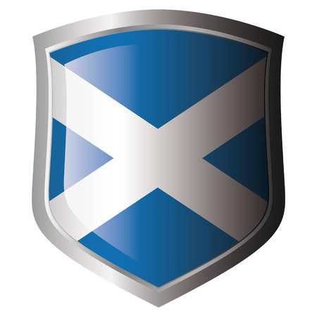 scotland flag on metal shiny shield. Collection of flags on shield against white background. Isolated object. Stock Vector - 5871997