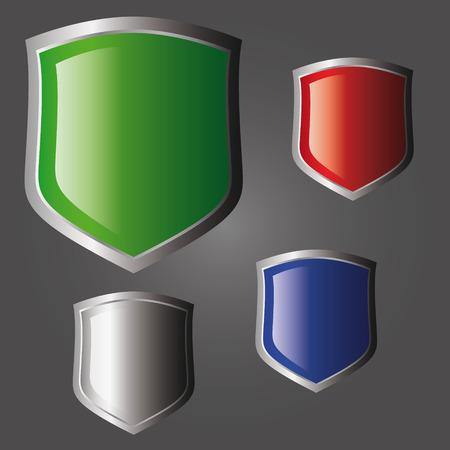 Metal shiny shield. Isolated object. Stock Vector - 5871978