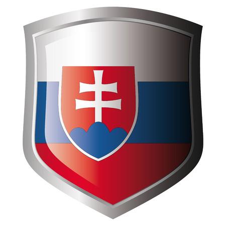 slovakia: bandiera della Slovacchia in metallo lucido scudo. Insieme di flag su scudo contro lo sfondo bianco. Oggetto isolato.