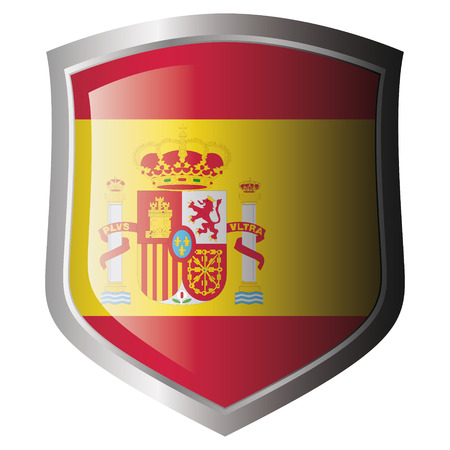 shiny metal: spain flag on metal shiny shield. Collection of flags on shield against white background. Isolated object. Illustration