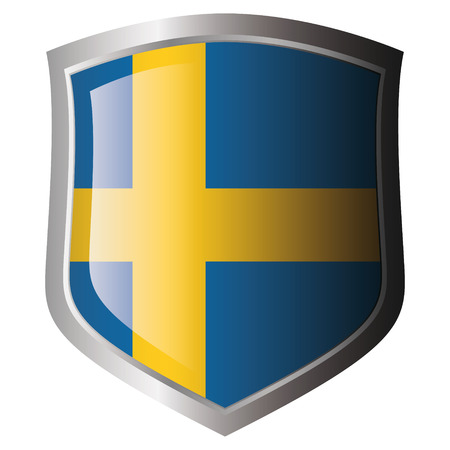 sweden flag on metal shiny shield. Collection of flags on shield against white background. Isolated object. Vector