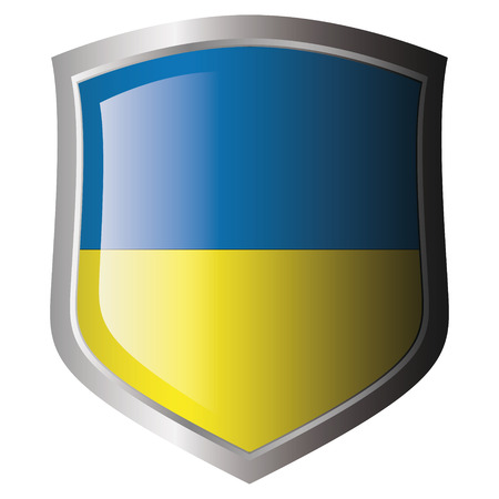 ukraine flag on metal shiny shield. Collection of flags on shield against white background. Isolated object. Stock Vector - 5872004
