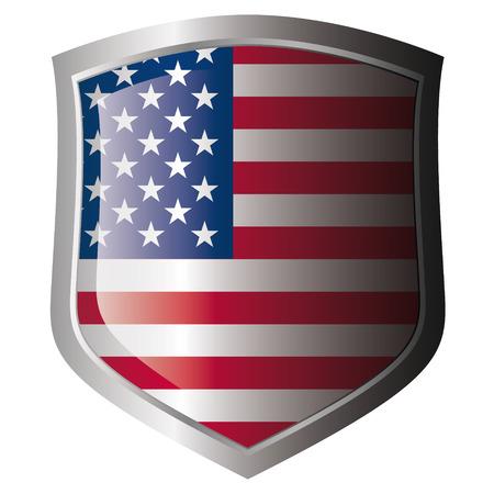 愛国心: 光沢のある金属製のシールドに米国旗。白い背景に対して盾上のフラグのコレクションです。孤立したオブジェクト。