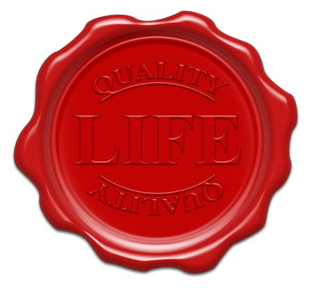 wax stamp: quality life - illustration red wax seal isolated on white background with word : life Stock Photo