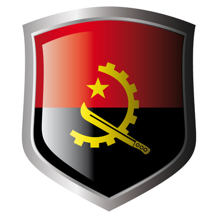 angola vector illustration flag on metal shiny shield. Collection of flags on shield against white background. Isolated object. Vector